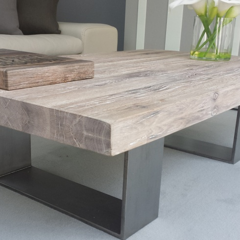 Modena Distressed Wood amp Metal Coffee Table